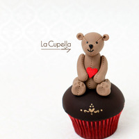 My Heart For You   A red velvet cupcake topped with a Valentine Teddy..