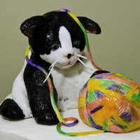 Cat With Ball Of Yarn this is a cat that was created with a ball of yarn and is 100% edible