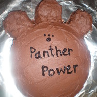 School Mascot Cake Panther Paw cake.. fail. lol I'm pretty sure i'm missing a toe print.. cut the toe prints out with the largest biscuit cutter i...