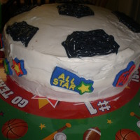 Soccer Top Cake soccer top cake made with kids' help.