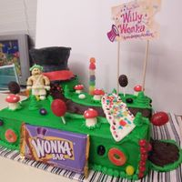 Willie Wonka And The Chocolate Factory Cake is chocolate/vanilla swirl with buttercream icing. The river is chocolate pudding. The bridge, wonka hat, mushrooms and umpa lumpa are...