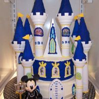 Kingdom Hearts  I got a request to do a cake for a boy who loves to play Kingdom Hearts on the playstation. All I could think to do was the Disney castle...