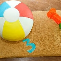 3D Beach Ball Cake   Rainbow cake. Beach and beach ball, all cake!