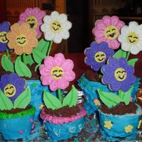Wilton Flower Pots here's my wilton cake book flowerpots its got it all. cookies, fondant leaves, bc piping, chocolate crushed cookies for dirt