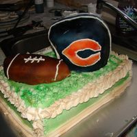 Superbowl Cake bears side superbowl cake, buttercream frosting, covered in fondant and airbrushed. football mmf