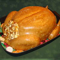 "Roasted Turkey Cake German chocolate cake with coconut pecan filling and icing, covered in white chocolate fondant ""skin"". Rice cereal treat legs and..."