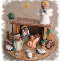 Christmas Nativity Gingerbread cookie stable, fondant and white chocolate figures