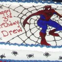 Spiderman Traced spiderman onto rice paper. First, colored in the design with food markers then went over the design with colored piping gel. The...