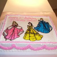 The Princesses One of my favorite mediums for kids cakes - rice paper and piping gel.