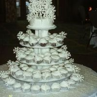 First Wedding Cake The bride wanted a non-traditional winter theme cake for her January wedding. I created tiers of cupcakes baked in silver papers, iced in...