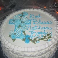 Baptism-Nathan Iced and decorated in buttercream.