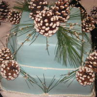 Pine Cone! pine cone, winter wedding, square, blue fresh flowers