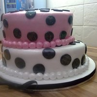 Polka Dot This two tier cake really stands out to me as the contrasting colours really pop.The top tier of this cake was vanilla with buttercream,...