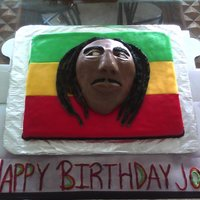 Bob Marley Cake This was a surprise Cake for my brother's 30th birthday!!!! Another first timer, due to because I used three colors of fondant on top...