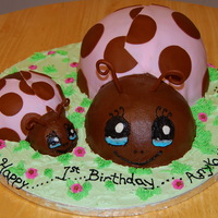 Lady Bug Cake - Pink And Brown A dear friend of mine (we've been friends since grade school) asked me if I could help her out by making a sheet cake for her daughter...