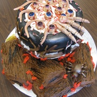 Eyeball Soup  I did this one in 2009 when a friend said she wanted an eyeball soup cake at our Halloween party. I made a red velvet cake which made it...
