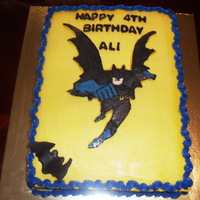 Batman Cake CHOCOLATE AND VANILLA CAKE WITH CHOCOLATE FROSTING COVERED WITH BUTTER CREAM, FBCT FOR BATMAN