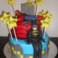 Batman And Spiderman Cake