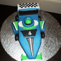 Formula 1 Car chocolate mud cake covered with fondant