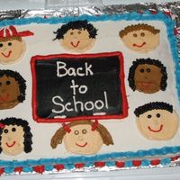 Back To School Cake I made a chalk board with kids faces for a back to school cake.