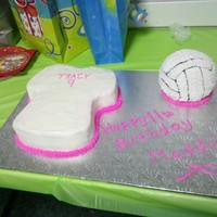 Jersey And Volleyball Cake Made this for an 11 year old girls birthday party. She loves Volleyball.