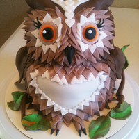 Who-Who Owl Cake Marble Cake with Buttercream Icing. Dazzled with Fondant Decor.