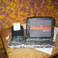 My 1St 3-D Cake - Computer Terminal And Receipt Printer  vanilla cake and buttercream. screen logo is printed on icing sheet with food coloring. Receipt printer is made of cake scraps and receipt...