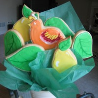 Partridge In A Pear Tree Bouquet   almond sugar cookie, royal icing