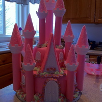 Pink Castle Vanilla Cake, MMF, MMF & buttercream accents. This was my first ever MMF cake! I used the Wilton Romantic Castle Set.