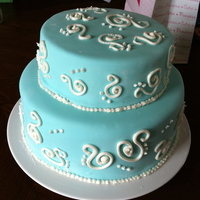 Blue Swirl Strawberry cream cake, MMF