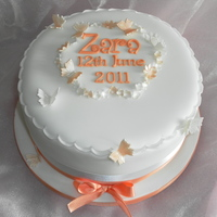 Peach Theme Christening Cake