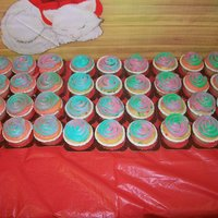 Holiday Cupcakes Creamcheese Icing, and strawberry cake some are vanilla,
