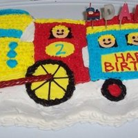 Choo Choo!! I made this cake using a train shaped baking pan with buttercream icing for decorating. For the people's heads I used Necco wafers.