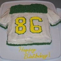 86 Jersey I cut a strip of cake off the long end of a regular 9x13 inch cake to make the arms for this football jersey cake. The jersey looks like...