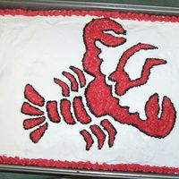 Crawfish Cake   I whipped this together real quick for a crawfish boil here in New Orleans. I used a piping gel transfer of an image I got from Google.