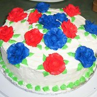 Memorial Day Cake   White Cake with all BC. Red and Blue BC roses.