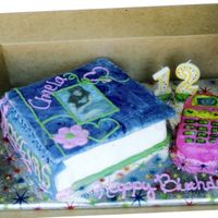 Chaela's 12Th Birthday Cake i can email the info on how to make it if anyone is interested. all pics are edible. as well as phone and book.(not cover).