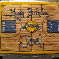 La Lakers Birthday Cake   This sheet cake is half white/half orange, covered in buttercream with mmf basketball court.
