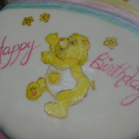 Hand-Painted Care Bear  I painted this cake using powdered food color and vodka and dusted it with a white pearl dust. The sides were dusted with white, blue and...