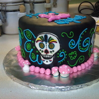 Day Of The Dead Birthday Cake  My friends' daughter requested Day of the Dead and mushrooms for her birthday cake! I finally figured out a way to incorporate the two...