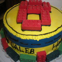 Lego Cake For My Sons 8Th B-Day   Fondant and chocolate brick molds for the legos.This is my 3rd fondant cake.