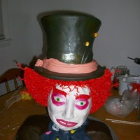 Mad Hatter Mad hatter cake, Hat is chocolate cake with peanut butter buttercream and the shoulders is vanilla with buttercream, face is cereal treats...