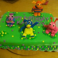 Backyardigans Cake backyardigans character cake. Tasha one of the characters is missing she was on a seperate cake for the birthday girl