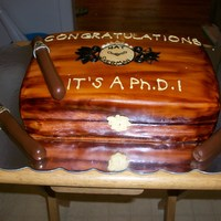 Cigar Box Cake vanilla cake with cream cheese icing.... Nat sherman cigar box, this was done for getting PH.D.