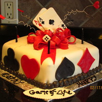 Game Cake Cake I made for neighbor's birthday, the theme was card games