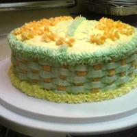 Basket Weave Happy Hour Cake Lemon-Lime and Orange Marble cake with corresponding citrus buttercream frosting.