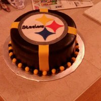 "Steelers Cake Superbowl   This is my first ""paid for"" cake. Marble cake with choc bavarian cream. All fondant decorations."