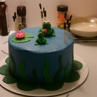 Froggy! Cake made for donation to Boys and Girls Club for their group birthday party. Cake was vanilla with cookies and cream filling and...