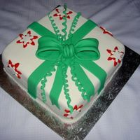 Fondant Present fondant present with fondant snowflakes and bow