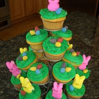 Easter Cupcakes! Easter cupcakes. Yellow cake with buttercream icing. I added some coconut that I dyed green to the tops and the decorations are Peeps and...